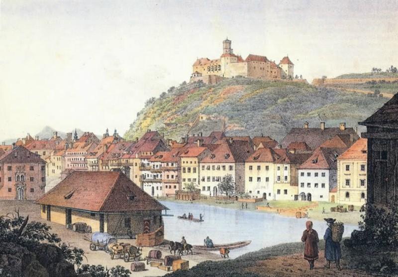 Pristanišče na bregu v Ljubljani leta 1765